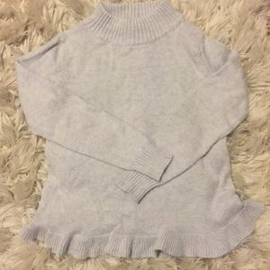 Mock-neck sweater with ruffle detail